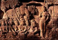 Bas relief stone carving Borobudur Buddhist Temple Yogyakarta Java Indonesia