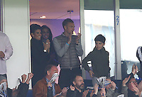 Jamie Vardy, his fiancee Rebekah Nicholson and Rita Mahrez, the wife of Riyad during the Barclays Premier League match between Leicester City and Swansea City played at The King Power Stadium, Leicester on 24th April 2016