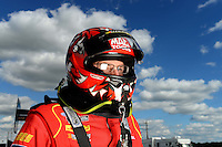 Sept 8, 2012; Clermont, IN, USA: NHRA top fuel dragster driver Doug Kalitta during qualifying for the US Nationals at Lucas Oil Raceway. Mandatory Credit: Mark J. Rebilas-