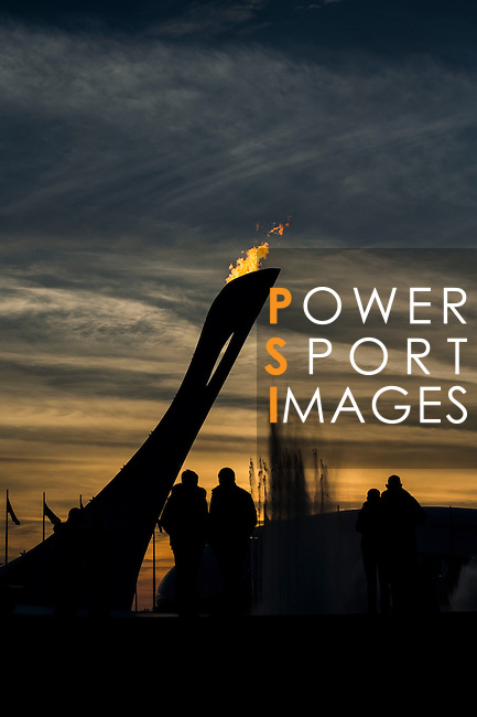 Visitors watch the Olympic flame burning silhouetted against a sunset sky during the 2014 Sochi Olympic Winter Games at the Olympic Park on February 8, 2014 in Sochi, Russia. Photo by Victor Fraile / Power Sport Images