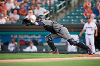 Lehigh Valley IronPigs catcher Logan Moore (35) stretches to receive a throw during a game against the Rochester Red Wings on June 30, 2018 at Frontier Field in Rochester, New York.  Lehigh Valley defeated Rochester 6-2.  (Mike Janes/Four Seam Images)