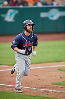 Nick Kahle (16) of the Rocky Mountain Vibes runs to first base against the Ogden Raptors at Lindquist Field on July 4, 2019 in Ogden, Utah. The Raptors defeated the Vibes 4-2. (Stephen Smith/Four Seam Images)