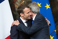 French President Emmanuel Macron, left, greets Italian Premier Paolo Gentiloni at the end of their joint press conference at Chigi Palace in Rome, January 11, 2018.<br /> UPDATE IMAGES PRESS/Riccardo De Luca<br /> <br /> ITALY OUT