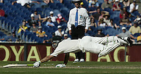 Day 1, 3'rd Test at MCG. 28/12/03.   Ricky Ponting dives for the crease, out for 257.  .   - pic by Trevor Collens