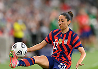 AUSTIN, TX - JUNE 16: Christen Press #23 of the United States gains control of a loose ball during a game between Nigeria and USWNT at Q2 Stadium on June 16, 2021 in Austin, Texas.