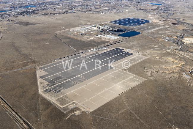 Solar power plant.  Sun Edison project south of Pueblo, Colorado
