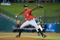 Kannapolis Intimidators starting pitcher Luis Martinez (12) in action against the Greensboro Grasshoppers in Game One of the South Atlantic League Northern Division playoff series at First National Bank Field on September 7, 2017 in Greensboro, North Carolina.  The Intimidators defeated the Grasshoppers 4-0.  (Brian Westerholt/Four Seam Images)