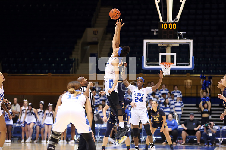 DURHAM, NC - JANUARY 16: Leaonna Odom #5 of Duke University wins the opening tip-off during a game between Notre Dame and Duke at Cameron Indoor Stadium on January 16, 2020 in Durham, North Carolina.
