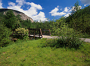Franconia Bike Path in Franconia Notch State Park in New Hampshire USA. Cannon Mountain can be seen in the background.