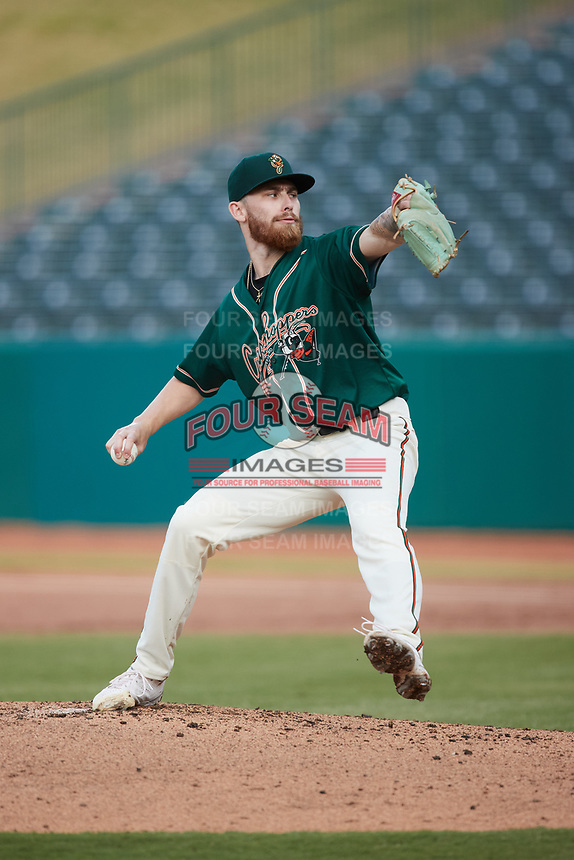 Greensboro Grasshoppers starting pitcher Michael Burrows (50) in action against the Winston-Salem Dash at First National Bank Field on June 3, 2021 in Greensboro, North Carolina. (Brian Westerholt/Four Seam Images)