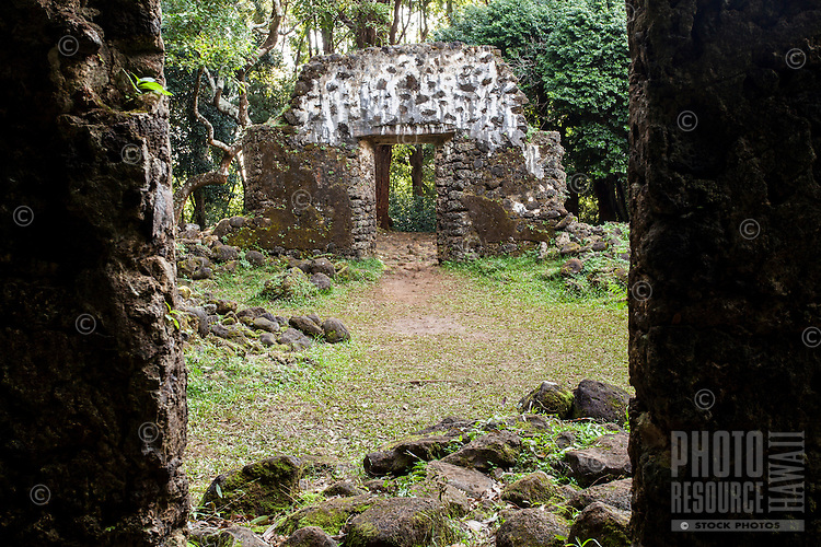 Kaniakapupu Ruins (or the King Kamehameha III Summer Palace), Nu'uanu Valley, O'ahu.
