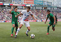 Chester, PA - Monday May 28, 2018: Rodrigo Vargas Castillo, Eric Lichaj during an international friendly match between the men's national teams of the United States (USA) and Bolivia (BOL) at Talen Energy Stadium.