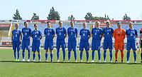 20180307 - LARNACA , CYPRUS :  Slovakian team pictured with Patricia Hmirova (11) , Diana Bartovicova (16) , Martina Surnovska (10) , Maria Mikolajova (17) , Kristina Kosikova (13) , Alexandra Biroova (5) , Petra Zdechovanova (14) , Valentina Susolova (6) , Jana Vojtekova (9) , Maria Korenciova (12) and Dominika Skorvankova (18) during a women's soccer game between  Slovakia and the Czech Republic , on Wednesday 7 March 2018 at the GSZ Stadium in Larnaca , Cyprus . This is the final game in a decision for 9 th or 10 th place of the Cyprus Womens Cup , a prestigious women soccer tournament as a preparation on the World Cup 2019 qualification duels. PHOTO SPORTPIX.BE   DAVID CATRY