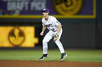 Winston-Salem Dash second baseman JJ Muno (10) on defense against the Lynchburg Hillcats at BB&T Ballpark on May 9, 2019 in Winston-Salem, North Carolina. The Dash defeated the Hillcats 4-1. (Brian Westerholt/Four Seam Images)
