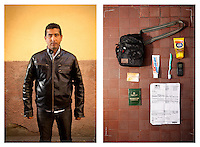 Karim, 30  yrs, poses for the photographer, Ventimiglia, Italy 17 May 2011. <br /> <br /> Karim left his hometown of Gabes, Tunisia, for Italy on 20th March. He has entered France twice, reaching Nice and the second time Marseille, before being apprehended, spending a night in a cell and being sent back to the Italian border by French police.