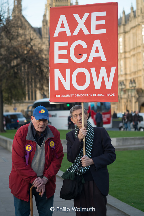 London UKIP members demonstrate outside Parliament during vote to trigger Article 50