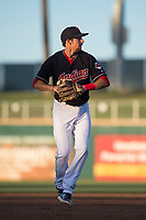 AZL Indians 1 third baseman Daniel Schneemann (15) during an Arizona League game against the AZL White Sox at Goodyear Ballpark on June 20, 2018 in Goodyear, Arizona. AZL Indians 1 defeated AZL White Sox 8-7. (Zachary Lucy/Four Seam Images)