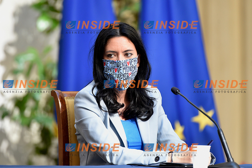 The Minister of Instruction Lucia Azzolina wearing a face mask during the press conference at Palazzo Chigi, about the measures to contrast the Covid-19 pandemic at the reopening of the schools on September 14th.<br /> Rome (Italy), September 9th 2020<br /> Photo Pool Paolo Tre Insidefoto