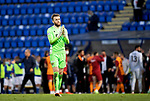 St Johnstone v Galatasaray…12.08.21  McDiarmid Park Europa League Qualifier<br />Zander Clark applauds the fans at full time<br />Picture by Graeme Hart.<br />Copyright Perthshire Picture Agency<br />Tel: 01738 623350  Mobile: 07990 594431
