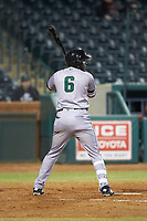 Jean Angomas (6) of the Augusta GreenJackets pinch hits in the 8th inning against the Greensboro Grasshoppers at First National Bank Field on April 10, 2018 in Greensboro, North Carolina.  The GreenJackets defeated the Grasshoppers 5-0.  (Brian Westerholt/Four Seam Images)