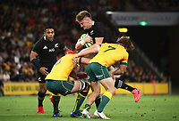 7th November 2020, Brisbane, Australia; Tri Nations International rugby union, Australia versus New Zealand;  Jordie Barrett  of The Allblacks in action