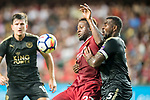 Liverpool FC forward Divock Origi (L) competes for the ball with Leicester City FC defender Wes Morgan during the Premier League Asia Trophy match between Liverpool FC and Leicester City FC at Hong Kong Stadium on 22 July 2017, in Hong Kong, China. Photo by Weixiang Lim / Power Sport Images