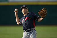 Luke Dykstra (4) of the Rome Braves warms up in the outfield prior to the game against the Hickory Crawdads at L.P. Frans Stadium on May 12, 2016 in Hickory, North Carolina.  The Braves defeated the Crawdads 3-0.  (Brian Westerholt/Four Seam Images)