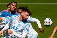 LOS ANGELES, CA - MAY 29: Tristan Blackmon #27 of LAFC with a head ball during a game between New York City FC and Los Angeles FC at Banc of California Stadium on May 29, 2021 in Los Angeles, California.