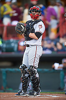 Richmond Flying Squirrels catcher Steven Lerud (19) during a game against the Erie SeaWolves on August 22, 2016 at Jerry Uht Park in Erie, Pennsylvania.  Erie defeated Richmond 4-2.  (Mike Janes/Four Seam Images)