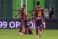 BARRANCABERMEJA - COLOMBIA, 25-02-2021: Jugadores del Tolima celebran después de anotar el tercer gol durante partido por la fecha 9 como parte de la Liga BetPlay DIMAYOR I 2021 entre Alianza Petrolera y Deportes Tolima jugado en el estadio Daniel Villa Zapata de la ciudad de Barrancabermeja. / Players of Tolima celebrate after scoring the third goal during match for the date 9 as part of BetPlay DIMAYOR I 2021 Liga between Alianza Petrolera and Deportes Tolima played at Daniel Villa Zapata stadium in Barrancabermeja city. Photo: VizzorImage / Jose Martinez / Cont