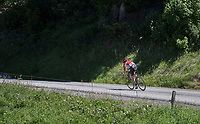 solo race leader Tony Gallopin (FRA/Lotto-Soudal) speeding along<br /> <br /> 69th Critérium du Dauphiné 2017<br /> Stage 8: Albertville > Plateau de Solaison (115km)