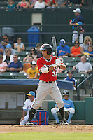 Carolina Mudcats outfielder Keith Curcio (32) at bat during game one of a doubleheader against the Myrtle Beach Pelicans at Ticketreturn.com Field at Pelicans Ballpark on June 6, 2015 in Myrtle Beach, South Carolina. Carolina defeated Myrtle Beach 1-0. (Robert Gurganus/Four Seam Images)
