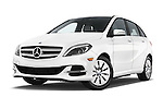 Stock pictures of low aggressive front three quarter view of a 2014 Mercedes Benz B-Class Electric Drive 5 Door MPV Low Aggressive