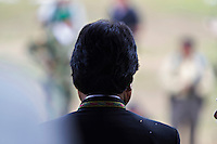 Cochabamba, Bolivia<br /> A picture dated December 19, 2012 shows the head of President Evo Morales during a ceremony in the region of the Chapare.