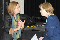 14.11.2016 - Ebbw Vale, Gwent, South wales. The Welsh Affairs Committee Brexit meeting at the Ebbw Vale Institute. Liz Saville-Roberts (L) Plaid Cymru MP for Dwyfor Merionnydd during the question & answer session. <br /> <br /> <br /> Jeff Thomas Photography -  www.jaypics.photoshelter.com - <br /> e-mail swansea1001@hotmail.co.uk -<br /> Mob: 07837 386244 -