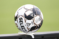 CARY, NC - AUGUST 01: USL Match Ball is set up on the side of the field for a quick restart while limiting the number of people who contact the ball during a game between Birmingham Legion FC and North Carolina FC at Sahlen's Stadium at WakeMed Soccer Park on August 01, 2020 in Cary, North Carolina.