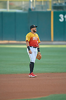 Jose Rojas (8) of the Salt Lake Bees during the game against the Oklahoma City Dodgers at Smith's Ballpark on August 1, 2019 in Salt Lake City, Utah. The Bees defeated the Dodgers 14-4. (Stephen Smith/Four Seam Images)