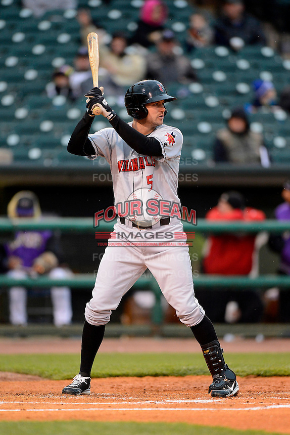 Indianapolis Indians shortstop Jordy Mercer #5 during a game against the Louisville Bats on April 19, 2013 at Louisville Slugger Field in Louisville, Kentucky.  Indianapolis defeated Louisville 4-1.  (Mike Janes/Four Seam Images)