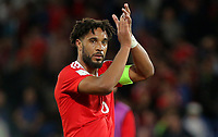 Ashley Williams of Wales thanks home supporters during the FIFA World Cup Qualifier Group D match between Wales and Austria at The Cardiff City Stadium, Cardiff, Wales, UK. Saturday 02 September 2017