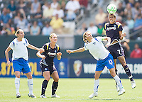 LA Sol's Shannon Boxx leaps high for a headball over Boston Breakers Kristine Lilly. The Boston Breakers and LA Sol played to a 0-0 draw at Home Depot Center stadium in Carson, California on Sunday May 10, 2009.   .