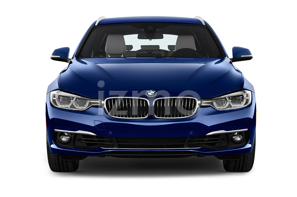 Car photography straight front view of a 2018 BMW 3 Series Touring 330i xDrive 5 Door Wagon
