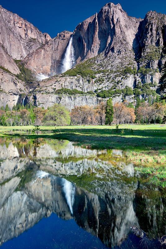 Yosemite Falls reflected in pool of water. Yosemite National Park, California