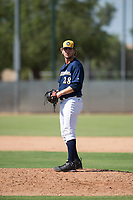 Milwaukee Brewers relief pitcher Logan Gillaspie (28) gets ready to deliver a pitch during an Instructional League game against the Los Angeles Dodgers at Maryvale Baseball Park on September 24, 2018 in Phoenix, Arizona. (Zachary Lucy/Four Seam Images)