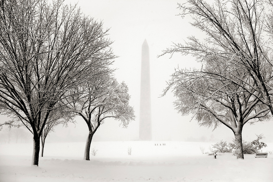 The Washington Monument is seen during an intense winter blizzard hit the nation's capital and much of the Mid Atlantic region, shutting down the Federal government........
