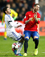 Spain's Sergio Ramos (r) and Israel's Bribas Natcho during FIFA World Cup 2018 Qualifying Round match. March 24,2017.(ALTERPHOTOS/Acero) /NortePhoto.com