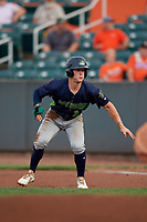 Vermont Lake Monsters Marty Bechina (10) leads off during a NY-Penn League game against the Aberdeen IronBirds on August 19, 2019 at Leidos Field at Ripken Stadium in Aberdeen, Maryland.  Aberdeen defeated Vermont 6-2.  (Mike Janes/Four Seam Images)
