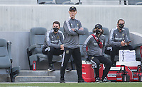 LOS ANGELES, CA - APRIL 17: LAFC head coach Bob Bradley looks on during a game between Austin FC and Los Angeles FC at Banc of California Stadium on April 17, 2021 in Los Angeles, California.