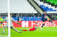 13th April 2021; Parc de Princes, Paris, France; UEFA Champions League football, quarter-final; Paris Saint Germain versus Bayern Munich;  Kylian Mbappe (PSG) shoots by the shot goes past the post of Neuer of Bayern
