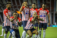 BARRANQUIILLA - COLOMBIA, 20-03-2021: Jugadores del Junior celebran después de anotar el segundo gol durante el partido por la fecha 13 de la Liga BetPlay DIMAYOR I 2021 entre Atlético Junior y Deportivo Pereira jugado en el estadio Metropolitano Roberto Meléndez de la ciudad de Barranquilla. / Players of Junior celebrate after scoring the second goal during match for date 13 as part of BetPlay DIMAYOR League I 2021 between Atletico Junior and Deportivo Pereira played at Metropolitano Roberto Melendez stadium in Barranquilla city. Photo: VizzorImage / Jairo Cassiani / Cont