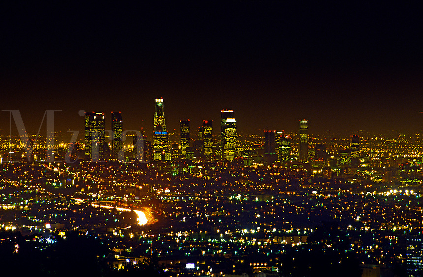 Los Angeles skyline at night, California
